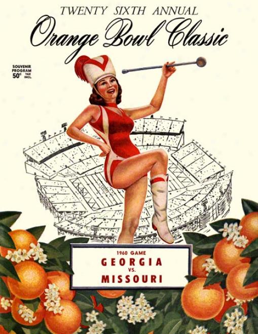 1960 Georgia Vs. Missouri 22 X 30 Canvas Historic Football Print