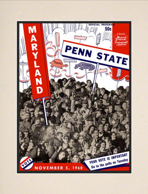 1960 Penn State Nittany Lions Vs Maryland Terrapins 10 1/2 X 14 Matted Historic Football Poster