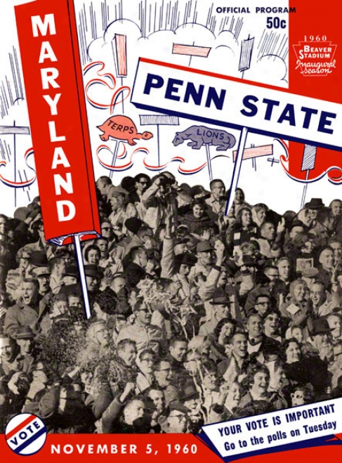 1960 Penn State Nittany Lions Vs Maryland Terrapins 36 X 48 Canvas Historic Football Pkster