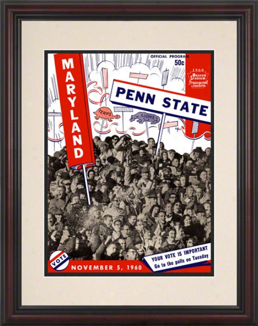 1960 Penn Condition Nittany Lions Vs Maryland Terrapins 8.5 X 11 Framed Historic Football Poster