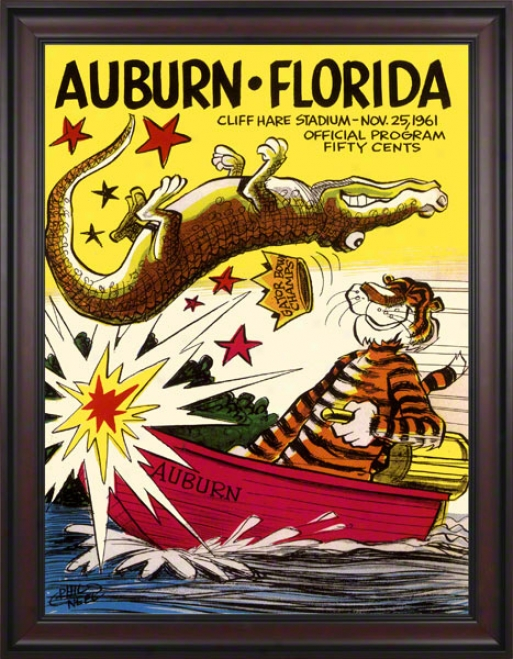 1961 Auburn Vs. Florida 36 X 48 Framed Canvas Historic Football Print
