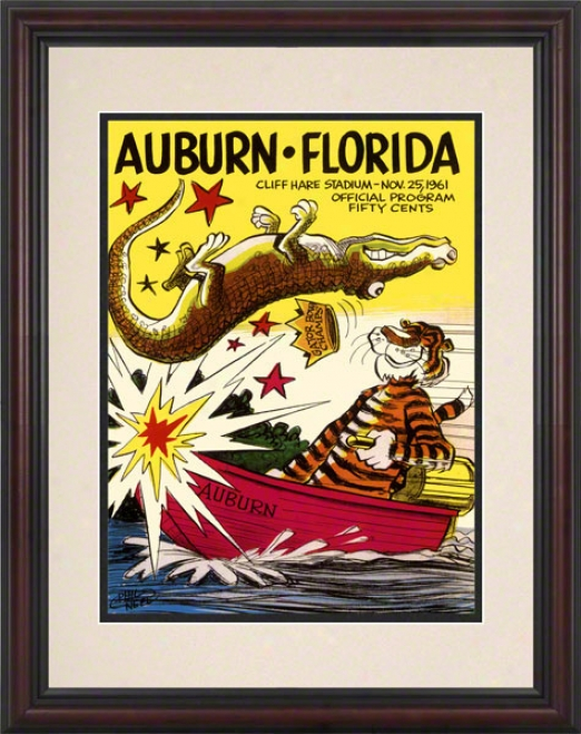 1961 Nut-brown Vs. Florida 8.5 X 11 Framed Historic Football Print