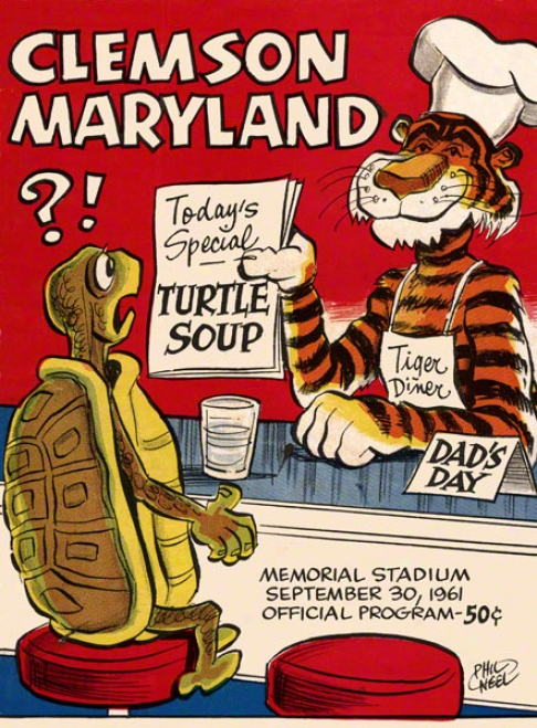 1961 Clemson Vs. Maryland 22 X 30 Canvas Historic Football Print
