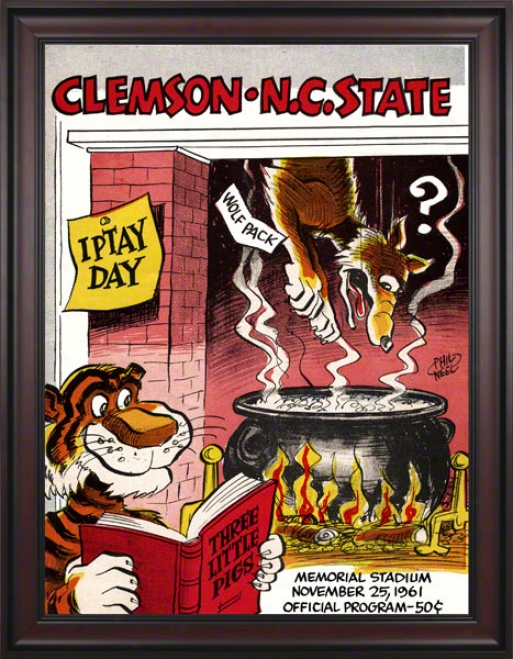 1961 Clemson Vs. North Carolina State 36 X 48 Framed Can\/as Historic Football Print