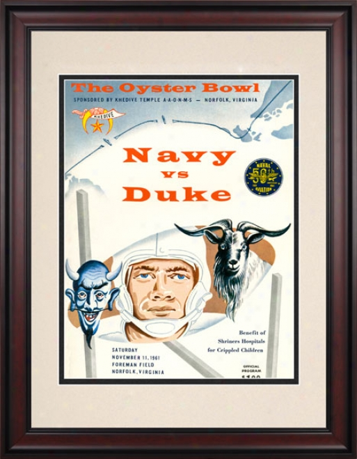 1961 Duke Blue Devils Vs. Navy Midshipmen 10.5x14 Framed Historic Football Print