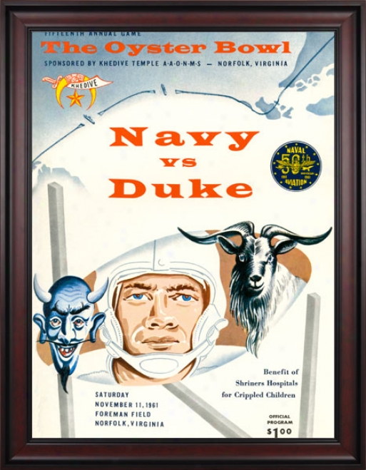 1961 Duks Blue Devils Vs. Navy Midshipmen 36 X 48 Framed Canvas Hostoric Football Print
