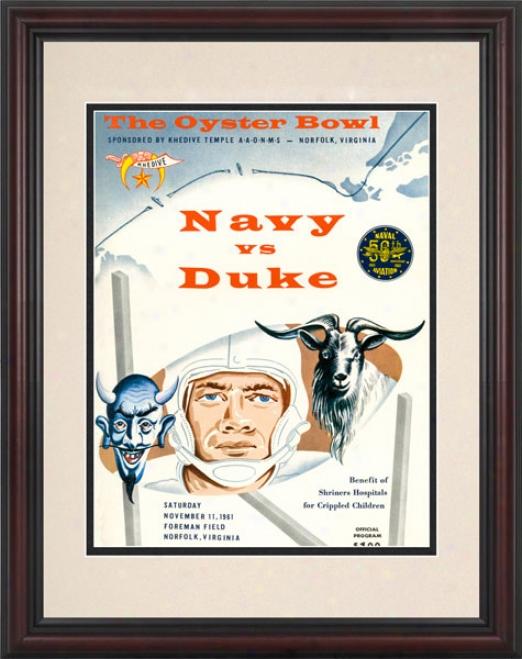 1861 Duke Blue Devils Vs. Navy Midshipmen 8.5 X 11 Framd Historic Football Print
