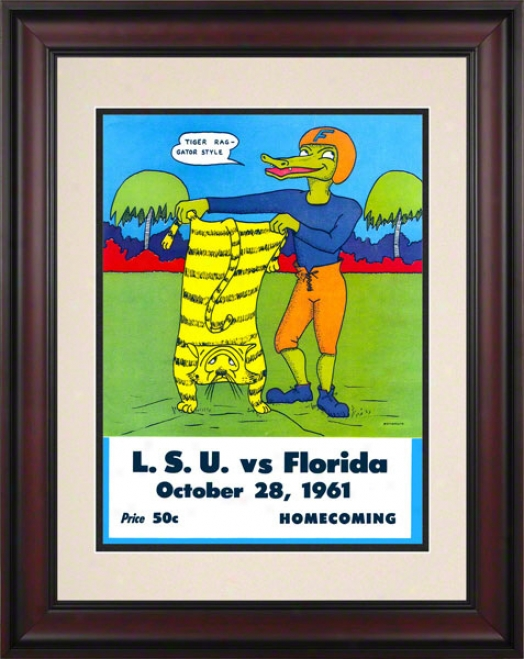 1961 Florida Vs. Lsu 10.5x14 Framed Historic Footba Print