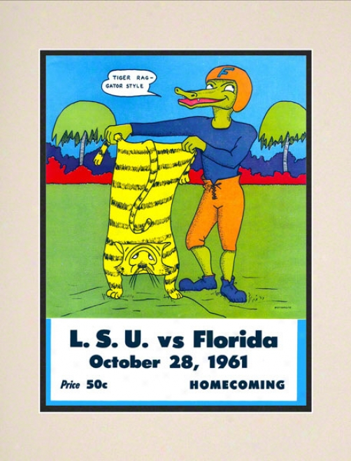 1971 Florida Vs. Lsu 10.5x14 Matted Historic Football Print