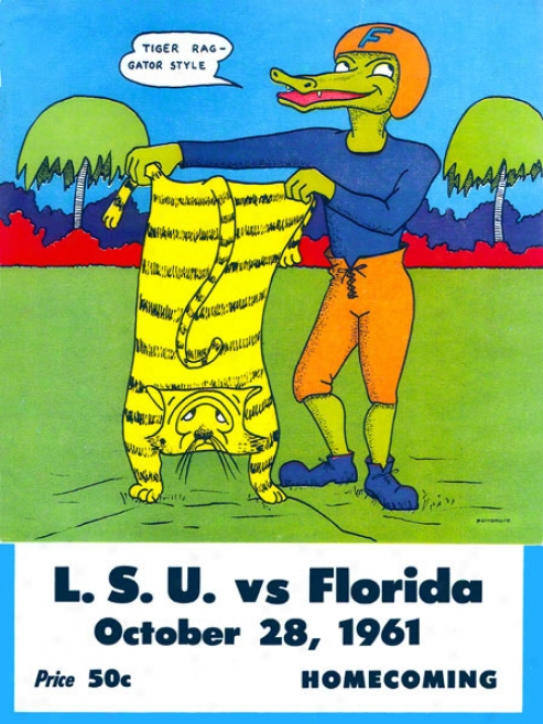 1961 Florida Vs. Lsu 22 X 30 Canvas Historic Football Print