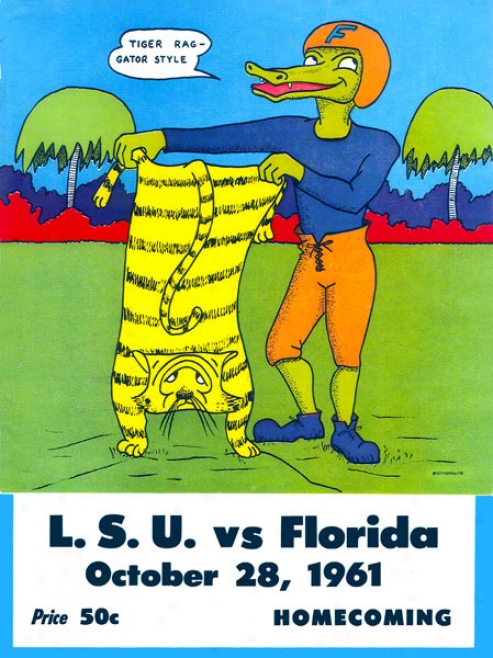 1961 Florida Vs. Lsu 36 X 48 Canvas Historic Football Print