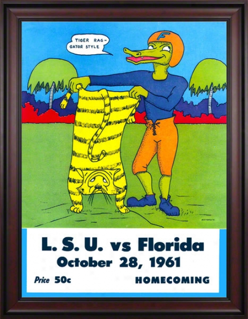 1961 Florida Vs. Lsu 36 X 48 Framed Canvas Historic Football Print