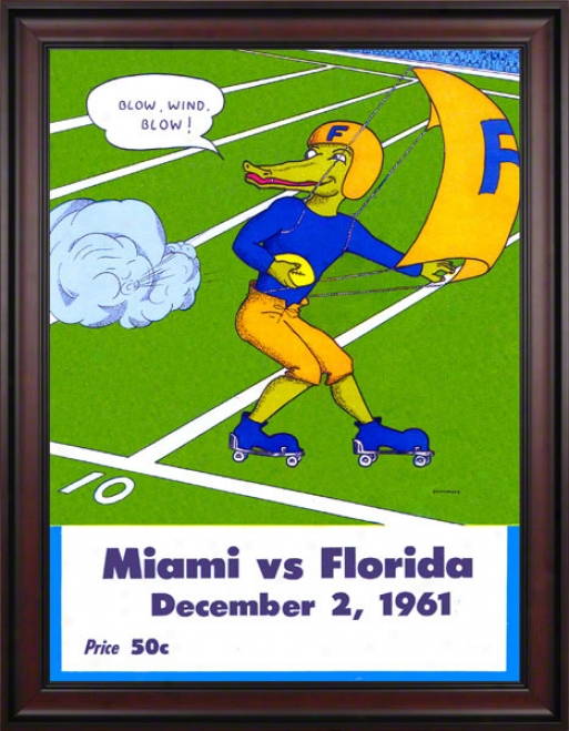 1961 Florida Vs. Miami 36 X 48 Framed Canvas Historic Football Print
