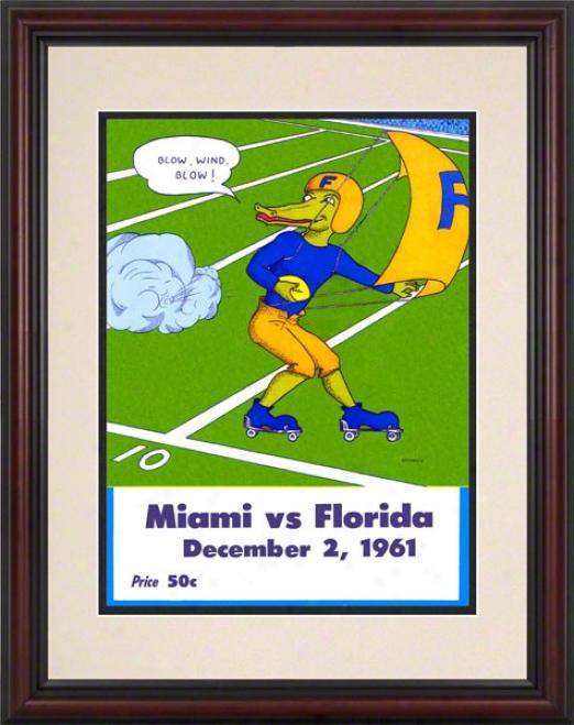 1961 Florida Vs. Miami 8.5 X 11 Framed Historic Football Print
