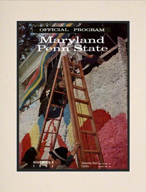 1961 Maryland Terrapins Vs Penn Pomp Nittany Lions 10 1/2 X 14 Matted Historic Football Poster