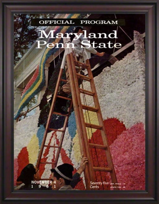 1961 Maryland Terrapins Vs Penn State Nittany Lions 36 X 48 Framed Canvas Historic Football Poster