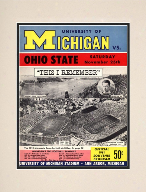 1961 Michigan Wolverines Vs. Ohio State Buckeyes 10.5x14 Matted Historic Footbll Print