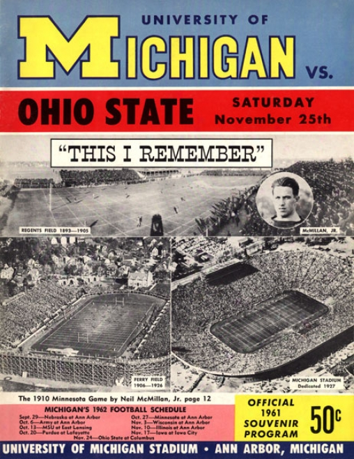 1961 Michigan Wolverines Vs. Ohio Condition Buckeyes 22 X 30 Canvas Historic Football Prknt