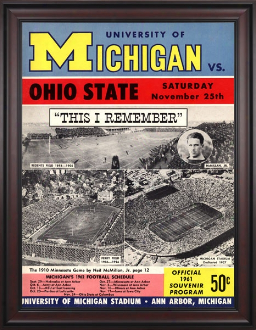 1961 Michigan Wolverines Vs. Ohio State Buckeyes 36 X 48 Framed Canvas Historic Fooyball Print