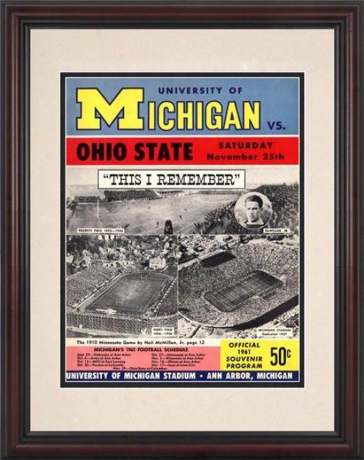 1961 Michigan Wolverines Vs. Ohio State Buckeyes 8.5 X 11 Framed Historic Football Print
