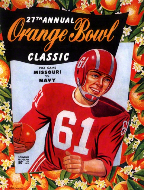 1961 Missouri Vs. Navy 22 X 30 Canvas Historic Football Print