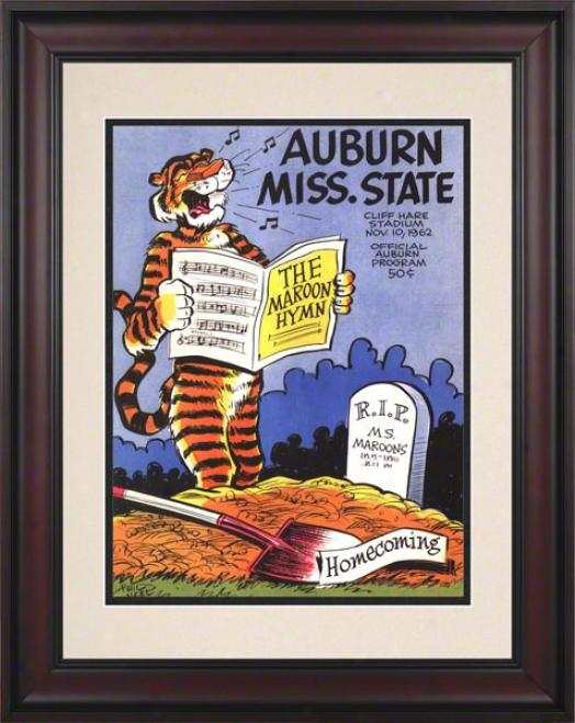 1962 Auburn Vs. Mississippi Stare 10.5x14 Framed Historic Football Print