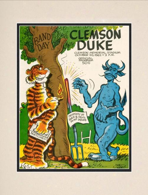 1962 Clemdon Tigers Vs. Duke Blue Devils 10.5s14 Matted iHstoric Football Print