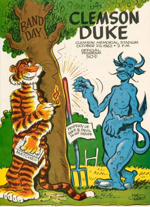 1962 Clemson Tigers Vs. Duke Blue Devils 22 X 30 Canvas Historic Football Print