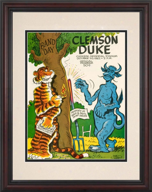 1962 Clemson Tigers Vs. Duke Blue Devils 8.5 X 11 Framed Historic Football Print