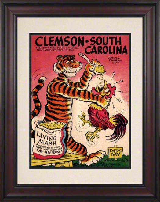 1962 Clemson Vs. South Carolina 10.5x14 Framed Historic Football Print