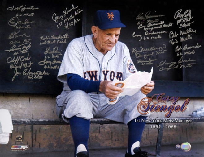 1962 New York Mets Autographed Photograph  Details: 1st Mets Manager Tribute, Team Sivned, 2l Signatures, 16x20