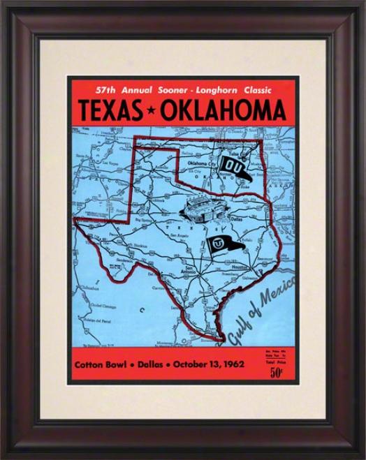 1962 Texas Vs Oklahoma 10.5x14 Framed Historic Football Print