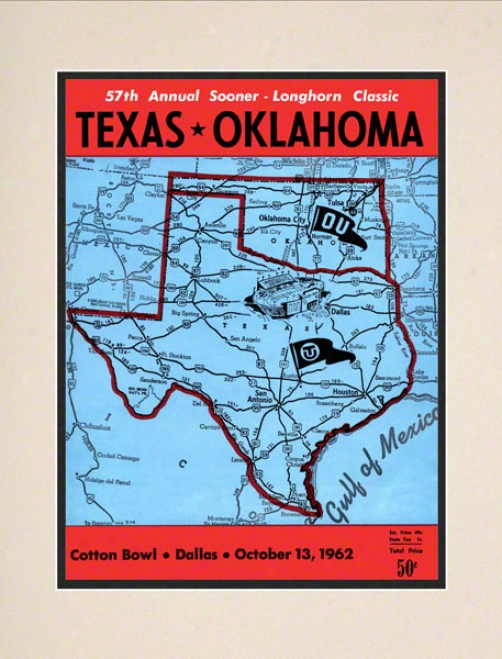 1962 Texas Vs Oklahoma 10.5x14 Matted Historic Football Print