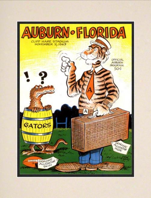 1963 Auburn Vs. Florida 10.5x14 Matted Historic Football Print