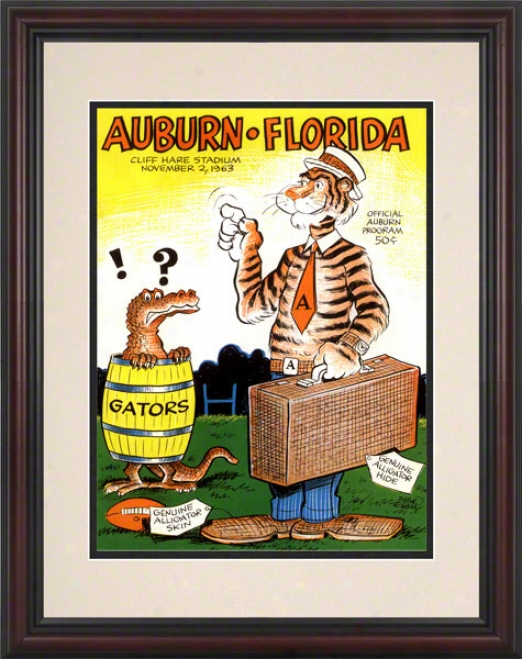 1963 Aubyrn Vs. Florida 8.5 X 11 Framed Historic Football Print