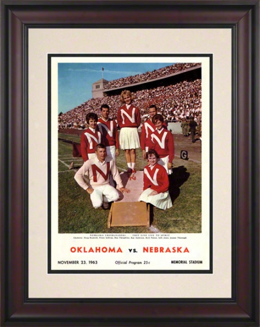 1963 Nebraska Vs Oklahoma 10.5x14 Framed Historic Football Print