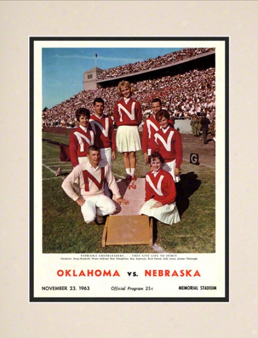 1963 Nebraska Vs Oklahoma 10.5x14 Matted Historic Football Print