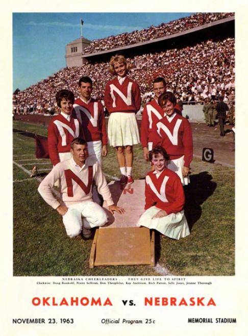 1963 Nebraska Vs Oklahoma 22 X 30 Canvas Historic Football Pint