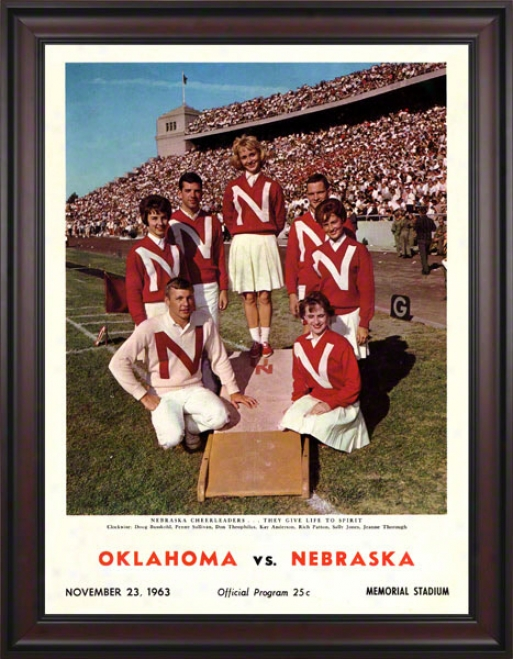 1963 Nebraska Vs Oklahoma 36 X 48 Framed Canvas Historic Football Print