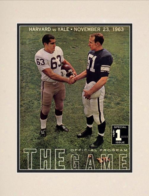 1963 Yale Bulldogs Vs. Harvard Crimson 10.5x14 Matted Historic Football Printt