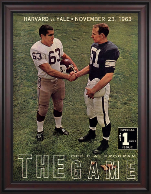 1963 Yale Bulldogs Vs. Harvard Crimon 36 X 48 Framed Canvas Historic Football Print