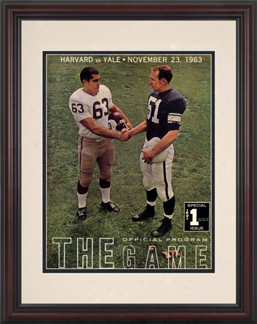 1963 Yale Bulldogs Vs. Harvard Crijson 8.5 X 11 Framed Historic Football Print