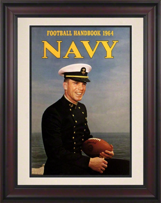 1964 Navy Staubach Program Print 10.5 X 14 Framed Historic Football Print