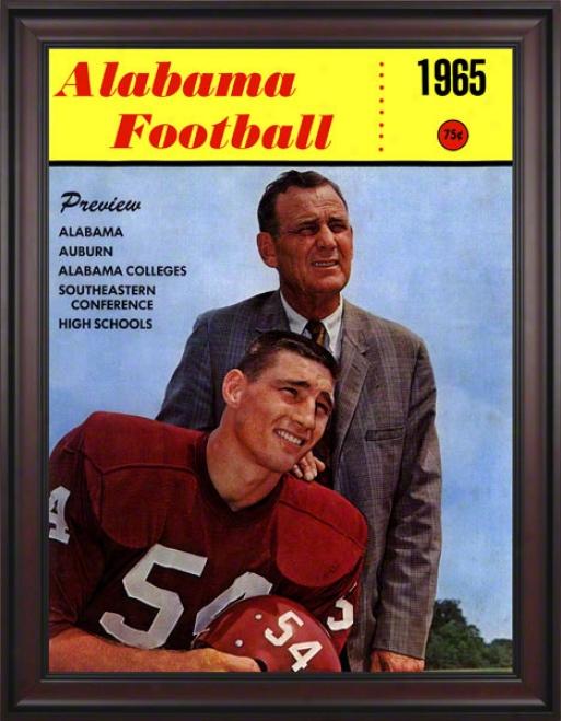 1965 Alabama Bryant Cover 36 X 48 Framed Canvas Historic Football Print