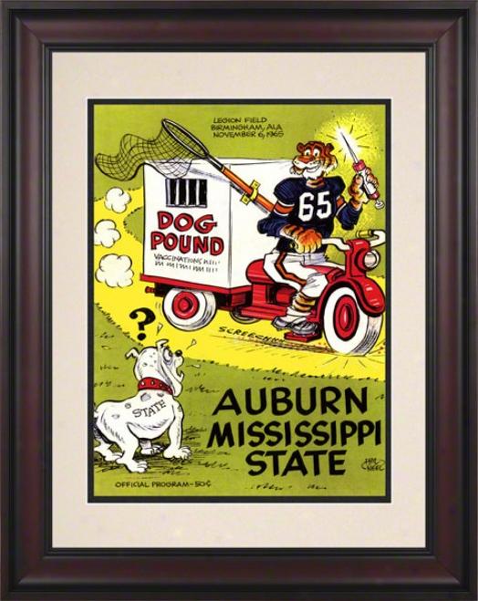 1965 Auburn Vs. Mississippi State 10.5x14 Framed Historic Football Print