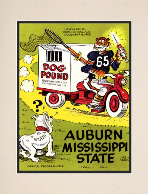 1965 Auburn Vs. Misissippi State 10.5x14 Matted Historic Football Print