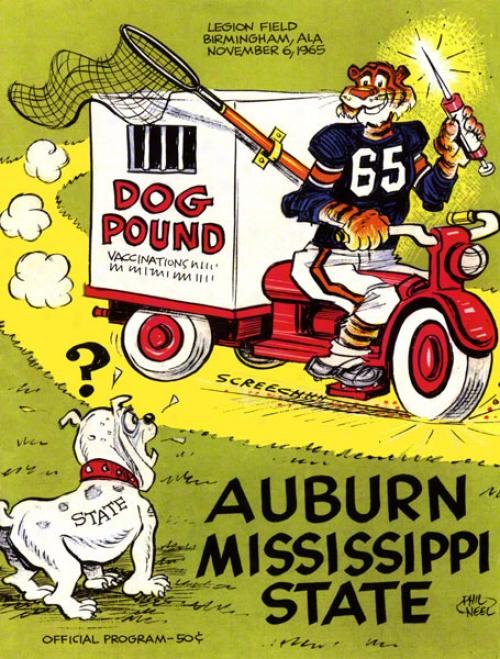 1965 Auburn Vs. Mississippi State 36 X 48 Canvas Historic Football Print