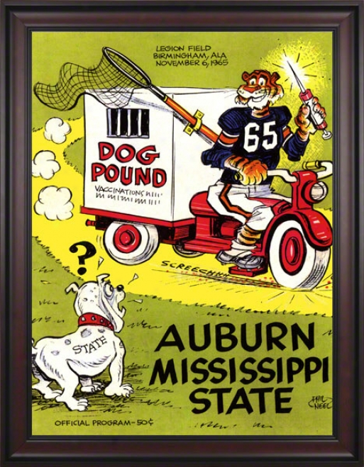 1965 Auburn Vs. Mississippi State 36 X 48 Framed Canvas Historic Football Print