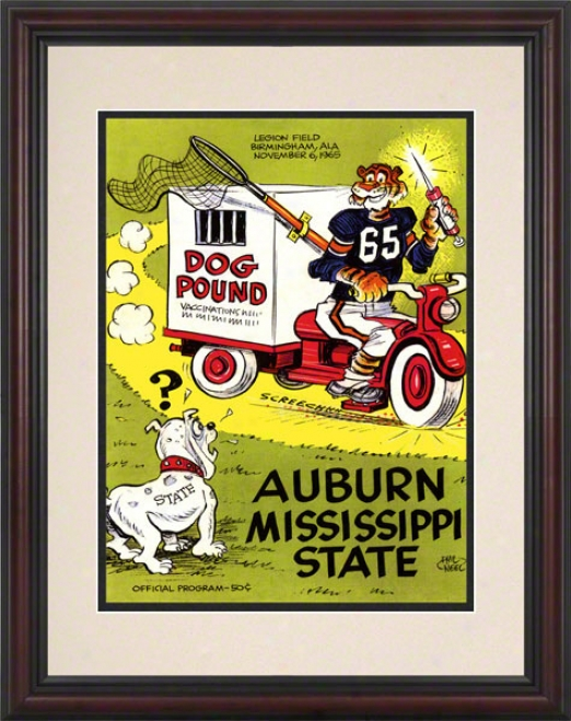 1965 Auburn Vs. Mississippi State 8.5 X 11 Framed Historic Football Print