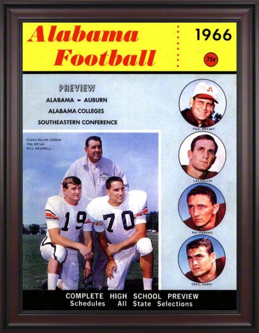 1966 Alabama Bryant Vs. Shug 36 X 48 Framed Canvas Historic Football Print